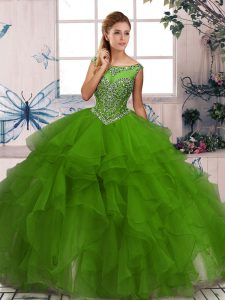 Stunning Green Ball Gowns Beading and Ruffles 15th Birthday Dress Zipper Organza Sleeveless Floor Length