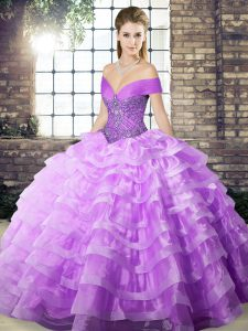 Gorgeous Lavender Ball Gowns Off The Shoulder Sleeveless Organza Brush Train Lace Up Beading and Ruffled Layers Vestidos de Quinceanera