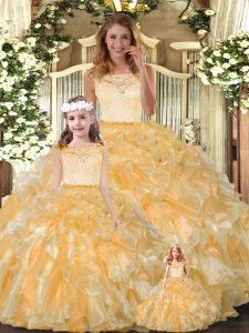 Sleeveless Organza Floor Length Clasp Handle 15th Birthday Dress in Gold with Lace and Ruffles