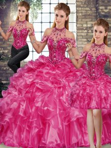 Edgy Floor Length Lace Up 15th Birthday Dress Fuchsia for Military Ball and Sweet 16 and Quinceanera with Beading and Ruffles