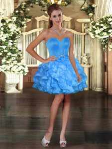 Glorious Blue Ball Gowns Ruffles Prom Dress Lace Up Organza Sleeveless Mini Length