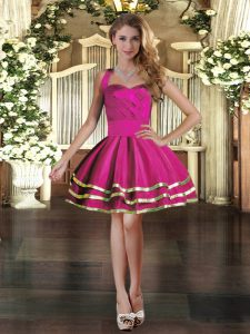 Fuchsia Lace Up Strapless Ruffled Layers Evening Dress Tulle Sleeveless