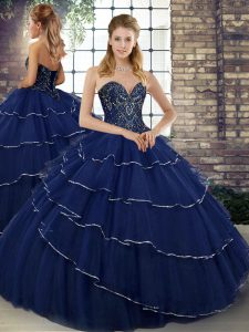 Navy Blue 15 Quinceanera Dress Military Ball and Sweet 16 and Quinceanera with Beading and Ruffled Layers Sweetheart Sleeveless Brush Train Lace Up