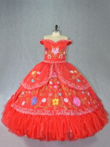 Wonderful Floor Length Red Sweet 16 Quinceanera Dress Off The Shoulder Sleeveless Lace Up