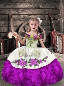 Purple Sleeveless Floor Length Beading and Embroidery and Ruffles Lace Up Winning Pageant Gowns