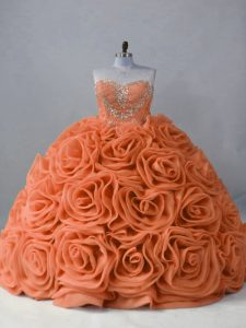 Orange Sleeveless Brush Train Beading Quinceanera Gowns