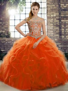 Tulle Sleeveless Sweet 16 Quinceanera Dress Brush Train and Beading and Ruffles