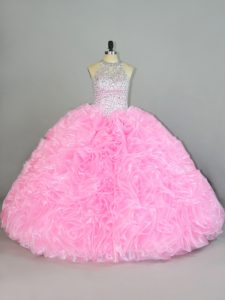 Elegant Sleeveless Floor Length Beading and Ruffles Lace Up 15th Birthday Dress with Baby Pink