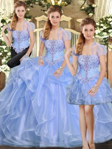 Adorable Lavender Three Pieces Beading and Ruffles Sweet 16 Dresses Lace Up Organza Sleeveless Floor Length