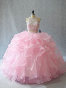 Custom Design Backless 15 Quinceanera Dress Baby Pink for Sweet 16 and Quinceanera with Beading and Ruffles Brush Train