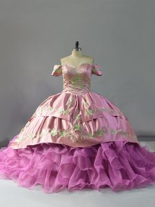 Perfect Lilac Lace Up Off The Shoulder Embroidery and Ruffles Sweet 16 Quinceanera Dress Organza Sleeveless Chapel Train