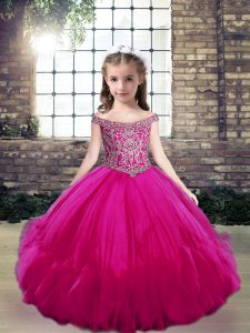 Discount Sleeveless Beading Lace Up Little Girls Pageant Dress