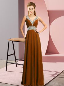 Brown Homecoming Dress Prom and Party with Beading V-neck Sleeveless Lace Up
