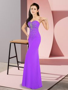 High Quality Sweetheart Sleeveless Zipper Homecoming Dress Lavender Chiffon