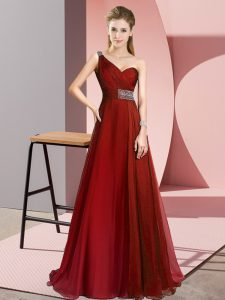 Low Price Wine Red One Shoulder Criss Cross Beading Pageant Dress Womens Brush Train Sleeveless