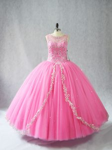 Rose Pink Sleeveless Tulle Lace Up Quinceanera Dress for Sweet 16 and Quinceanera