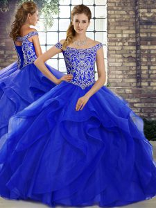 Royal Blue Lace Up Quinceanera Dresses Beading and Ruffles Sleeveless Brush Train