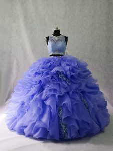 Inexpensive Sleeveless Ruffles and Sequins Zipper 15th Birthday Dress with Lavender Brush Train