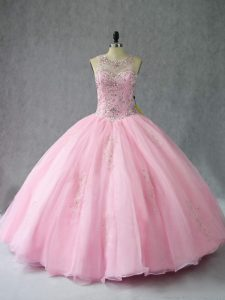 Pretty Scoop Sleeveless Quinceanera Gown Floor Length Beading Baby Pink Organza