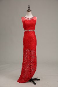 Simple Red Lace Zipper Scoop Sleeveless Floor Length Prom Dress Beading