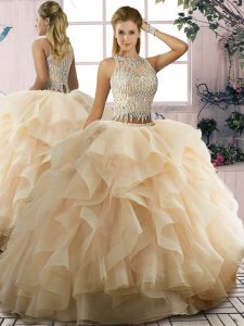 Suitable Champagne Ball Gowns Tulle Scoop Sleeveless Ruffles Floor Length Lace Up Sweet 16 Dresses