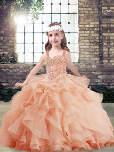 Perfect Sleeveless Beading and Ruffles Side Zipper Pageant Dress for Teens