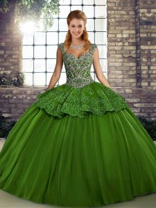 Super Green Ball Gowns Tulle Straps Sleeveless Beading and Appliques Floor Length Lace Up 15th Birthday Dress