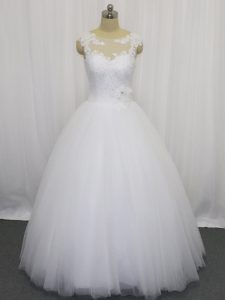 Hot Selling White Tulle Clasp Handle Wedding Gown Sleeveless Floor Length Beading and Lace and Hand Made Flower