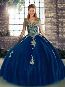Royal Blue Tulle Lace Up Quinceanera Dresses Sleeveless Floor Length Beading and Appliques