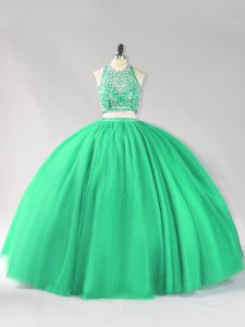 Sumptuous Turquoise Backless Halter Top Beading Quinceanera Dresses Tulle Sleeveless
