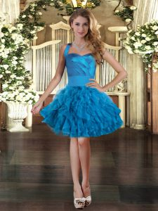 Exquisite Blue Ball Gowns Tulle Halter Top Sleeveless Ruffles Mini Length Lace Up Prom Dresses