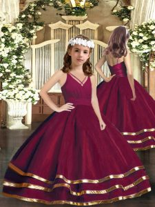 V-neck Sleeveless Tulle Pageant Gowns For Girls Ruffled Layers Zipper
