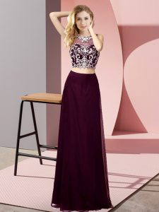 Dazzling Burgundy Chiffon Backless Sleeveless Floor Length Beading