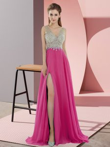 Hot Pink V-neck Neckline Beading Evening Outfits Sleeveless Zipper