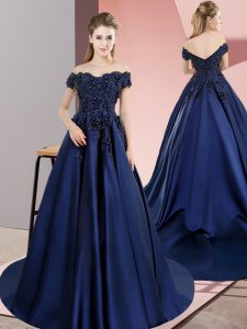 Inexpensive Navy Blue A-line Off The Shoulder Sleeveless Satin Lace Up Lace Quinceanera Dresses