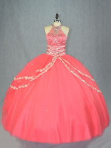 Suitable Watermelon Red Halter Top Neckline Beading and Ruffles Quinceanera Dress Sleeveless Lace Up