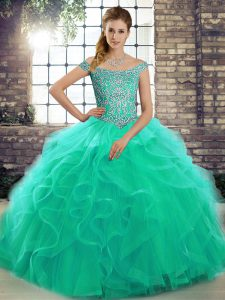 Low Price Turquoise Tulle Lace Up Quince Ball Gowns Sleeveless Brush Train Beading and Ruffles