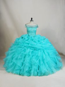 Cute Sleeveless Beading and Ruffles Lace Up Sweet 16 Dress