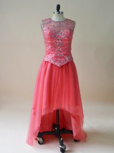 Glittering Coral Red Sleeveless Tulle Prom Dresses for Prom and Party and Military Ball