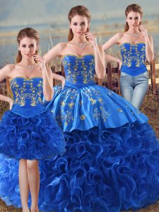 Designer Royal Blue Sleeveless Fabric With Rolling Flowers Lace Up Sweet 16 Dresses for Sweet 16 and Quinceanera