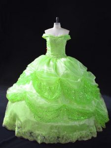 Spectacular Floor Length Sweet 16 Dress Organza Sleeveless Beading and Appliques and Pick Ups
