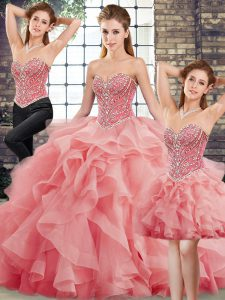 Three Pieces Sleeveless Watermelon Red Ball Gown Prom Dress Brush Train Lace Up