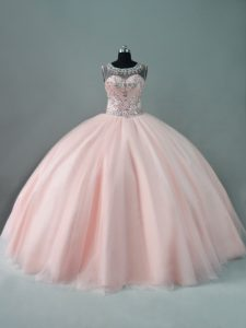 Peach Quinceanera Gowns Sweet 16 and Quinceanera with Beading Scoop Sleeveless Zipper