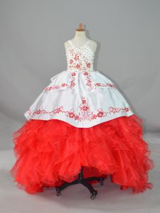 Sleeveless Beading and Embroidery and Ruffles Lace Up Pageant Dress Wholesale with White And Red Sweep Train