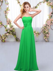 Trendy Green Sleeveless Floor Length Hand Made Flower Lace Up Wedding Party Dress