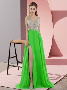 Green Sleeveless Chiffon Sweep Train Zipper Prom Dress for Prom and Party