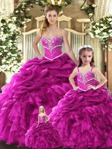 Traditional Floor Length Ball Gowns Sleeveless Fuchsia Vestidos de Quinceanera Lace Up
