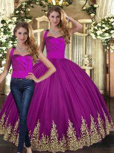 Sleeveless Floor Length Embroidery Lace Up Vestidos de Quinceanera with Fuchsia