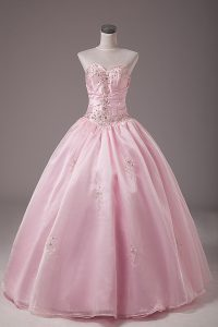 Modest Baby Pink Lace Up Sweet 16 Dress Beading and Embroidery Sleeveless Floor Length