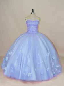Adorable Sleeveless Side Zipper Floor Length Beading and Hand Made Flower Sweet 16 Quinceanera Dress